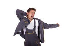 Trabalhador cansado e muito sonolento do homem Fotos de Stock