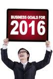 Trabalhador chinês com objetivos de negócios para 2016 Foto de Stock Royalty Free