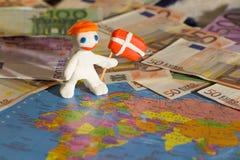 Trabalhador com bandeira - Dinamarca Imagem de Stock
