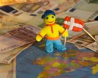Trabalhador com bandeira - Dinamarca Fotos de Stock