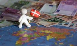 Trabalhador com bandeira - Dinamarca Foto de Stock