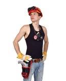 Trabalhador com broca Imagens de Stock