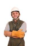 Trabalhador com capacete e luvas Fotografia de Stock