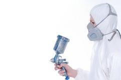 Trabalhador com injetor do airbrush Imagem de Stock