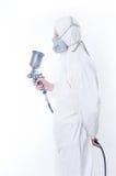 Trabalhador com injetor do airbrush Fotografia de Stock