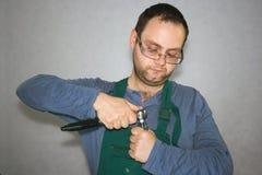 Trabalhador com instrumentos Fotos de Stock