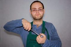Trabalhador com instrumentos Foto de Stock
