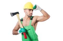 Trabalhador com machado Fotografia de Stock Royalty Free