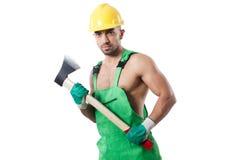 Trabalhador com machado Fotos de Stock Royalty Free