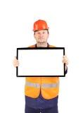 Trabalhador com monitor do lcd Fotografia de Stock Royalty Free