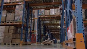 Trabalhador com o empilhador do caminhão de pálete da forquilha no grupo de carregamento do armazém de pacotes filme