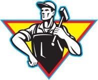 Trabalhador com o martelo retro Imagens de Stock Royalty Free