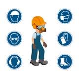 Trabalhador com seus ícones pessoais do equipamento de proteção e da segurança Ilustration do vetor ilustração do vetor