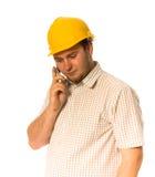 Trabalhador com telefone foto de stock