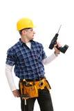 Trabalhador com uma broca Foto de Stock Royalty Free