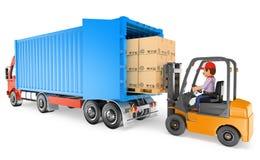 trabalhador 3D que conduz uma empilhadeira que carrega um caminhão do recipiente Imagens de Stock Royalty Free