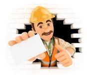 trabalhador 3D que vem para fora um furo da parede com um cartão vazio Fotografia de Stock Royalty Free