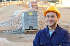 Trabalhador da construção étnico com espaço da cópia imagens de stock royalty free