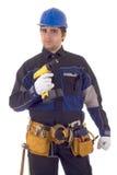Trabalhador da construção com broca imagem de stock