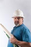 Trabalhador da construção com capacete de segurança Imagens de Stock