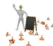 Trabalhador da construção com cones do tráfego e placa Imagens de Stock Royalty Free