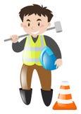 Trabalhador da construção com ferramenta ilustração do vetor