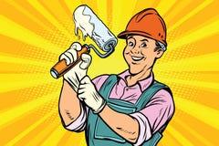 Trabalhador da construção com o rolo para a pintura ilustração do vetor