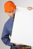 Trabalhador da construção com sinal Foto de Stock Royalty Free