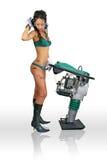 Trabalhador da construção da rapariga com rammer Fotos de Stock Royalty Free