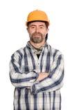 Trabalhador da construção de sorriso no capacete Fotos de Stock Royalty Free