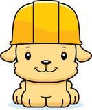 Trabalhador da construção de sorriso Puppy dos desenhos animados Fotos de Stock Royalty Free