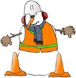 Trabalhador da construção do boneco de neve ilustração do vetor