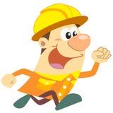 Trabalhador da construção dos desenhos animados com fundo branco Fotografia de Stock Royalty Free
