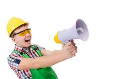 Trabalhador da construção engraçado com altifalante Imagens de Stock Royalty Free