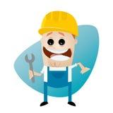 Trabalhador da construção engraçado dos desenhos animados com chave Imagem de Stock Royalty Free