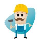 Trabalhador da construção engraçado dos desenhos animados com martelo Imagem de Stock