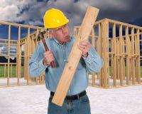 Trabalhador da construção engraçado, Job Safety imagens de stock