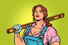 Trabalhador da construção fêmea com nível ilustração stock