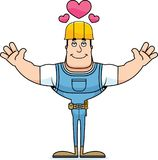 Trabalhador da construção Hug dos desenhos animados ilustração do vetor
