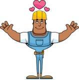 Trabalhador da construção Hug dos desenhos animados ilustração royalty free
