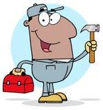 Trabalhador da construção preto com ferramentas ilustração do vetor