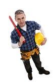 Trabalhador da construção pronto para trabalhar Fotografia de Stock Royalty Free