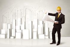 Trabalhador da construção que aplana com construções 3d no fundo Fotografia de Stock