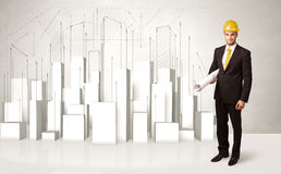 Trabalhador da construção que aplana com construções 3d no fundo Fotografia de Stock Royalty Free