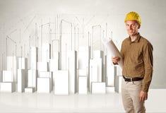 Trabalhador da construção que aplana com construções 3d no fundo Imagens de Stock