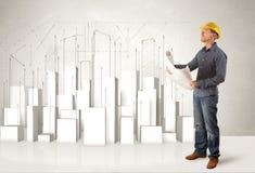 Trabalhador da construção que aplana com construções 3d no fundo Foto de Stock Royalty Free