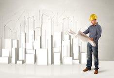 Trabalhador da construção que aplana com construções 3d no fundo Imagens de Stock Royalty Free