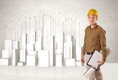 Trabalhador da construção que aplana com construções 3d no fundo Imagem de Stock