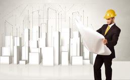 Trabalhador da construção que aplana com construções 3d no fundo Fotos de Stock Royalty Free