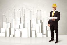 Trabalhador da construção que aplana com construções 3d no fundo Fotos de Stock
